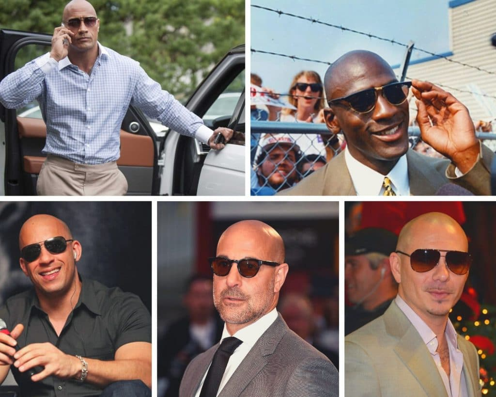 bald celebrities, celebs, sunglasses, style, fashion, the rock, dwayne johnson, michael jordan, vin diesel, stanley tucci, pitball