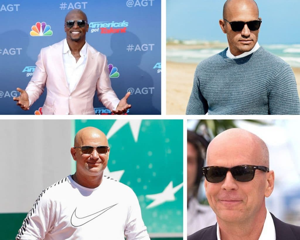 bald celebrities, sunglasses, style, fashion kelly slater, andre agassi, bruce willis, terry crews