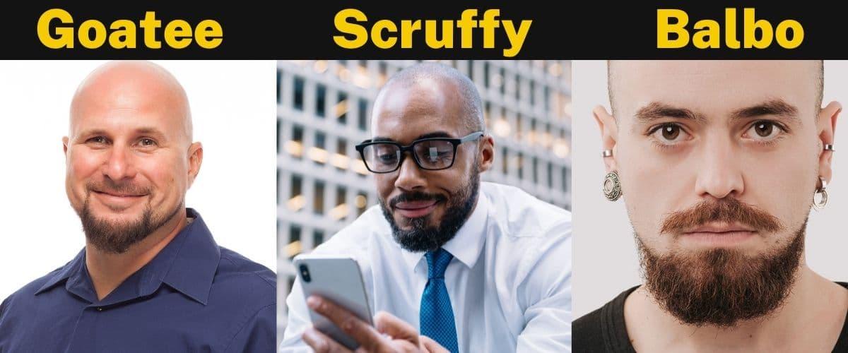 Goatee Scruffy Balbo beards styles for bald men