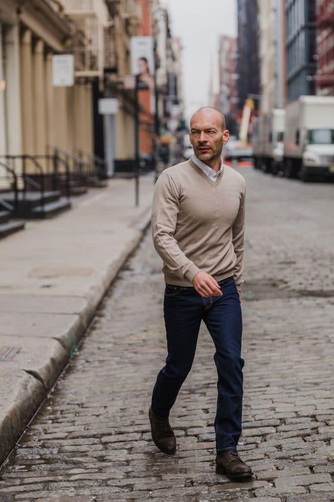 bald guy with stubble fashion