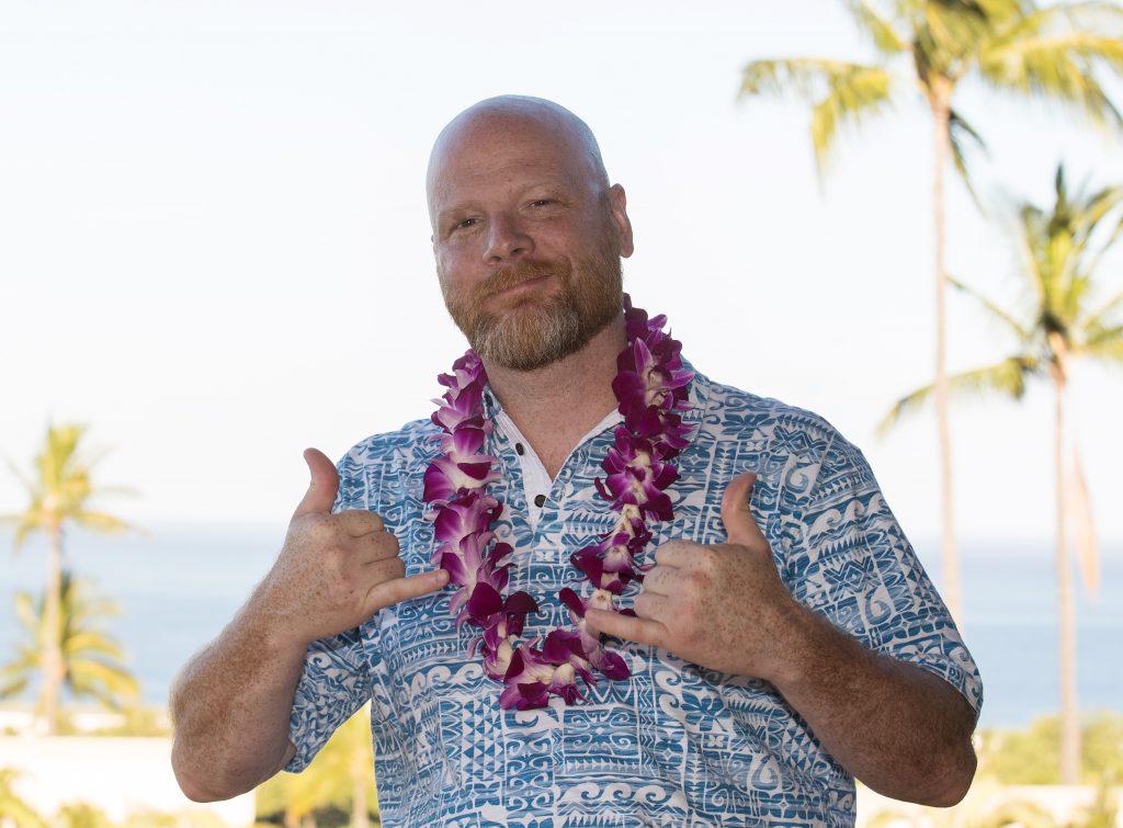 bald man with a beard on vacation in Hawaii