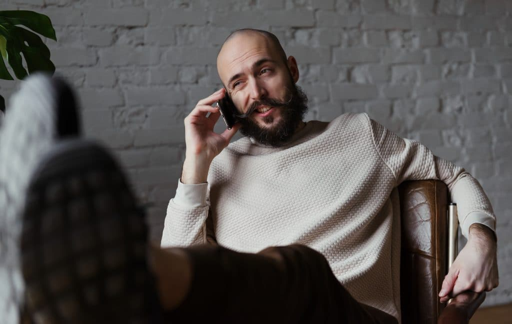 relaxed fashion look for bald guy and beard