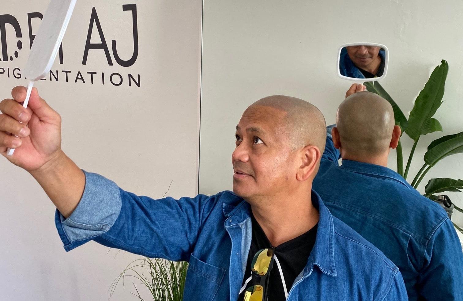 happy Melbourne scalp micro-pigmentation customer
