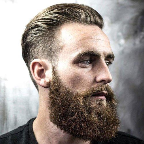 slick hair and big beard balding men